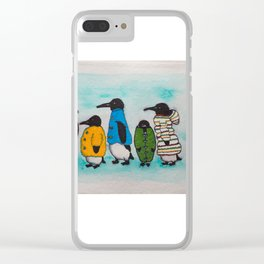 Penguins in Coats Clear iPhone Case