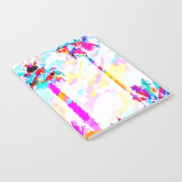 palm tree with colorful painting texture abstract background in pink blue yellow red Notebook
