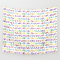 bicycles Wall Tapestries featuring Colorful Bicycles by GoldTarget