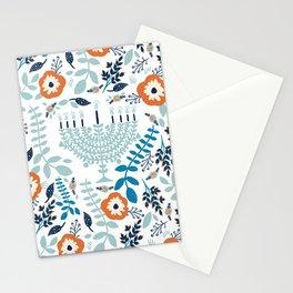 Hanukkah Menorah and Flowers Stationery Cards