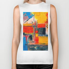 Colourful oil painting Biker Tank