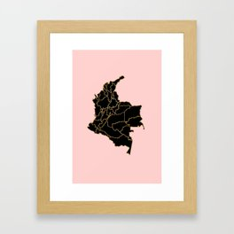 Colombia map Framed Art Print