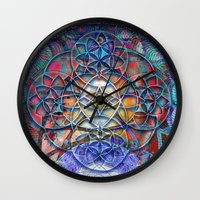 shiva Wall Clocks featuring Space Shiva by BradButler