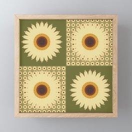 Sunflower Fields Green Pattern Framed Mini Art Print