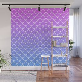 Pink and Blue Mermaid Scales Wall Mural