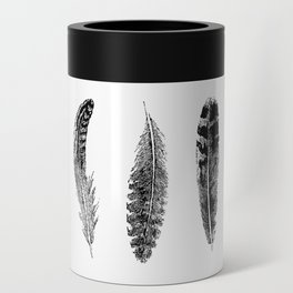 Feather Trio | Black and White Can Cooler