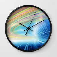 halo Wall Clocks featuring Colorful Halo by Tom Lee