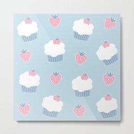 Cute cartoon cupcakes and strawberries pattern Metal Print