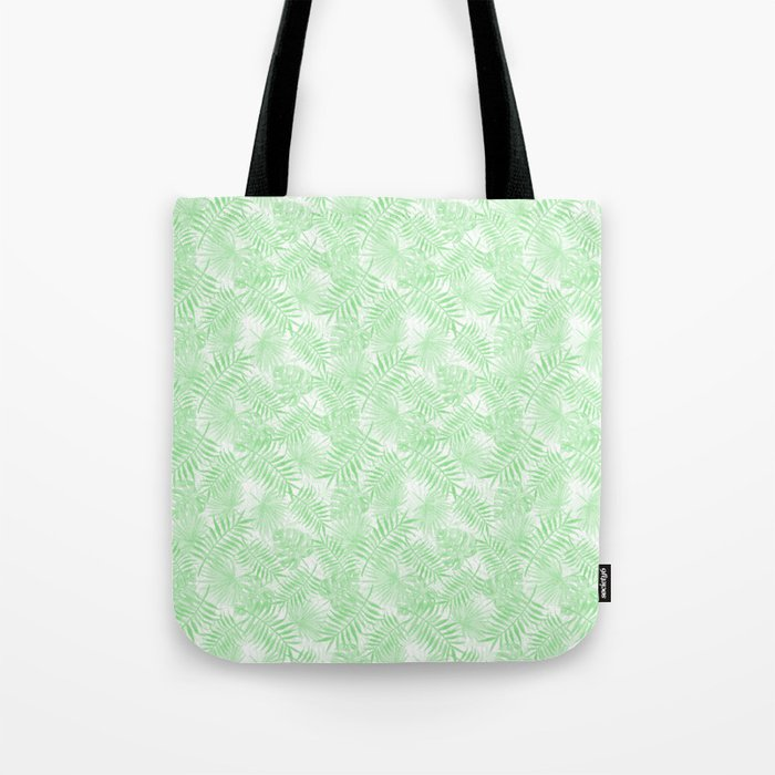 Pale Pastel Green Monstera Palm Leaves Tote Bag