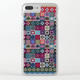 Checkered Patchwork Tile Pattern Clear iPhone Case