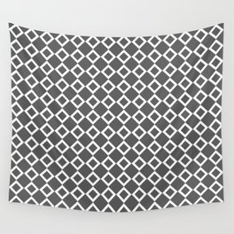 Dark gray and white small diamond rhombus pattern Wall Tapestry