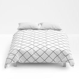 Pantone Pewter Gray Thin Line Stripe Grid (Pinstripe Pattern) on White Comforters