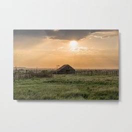 The Warmth of Summer - Old Rustic Barn in Evening Light in Oklahoma Metal Print