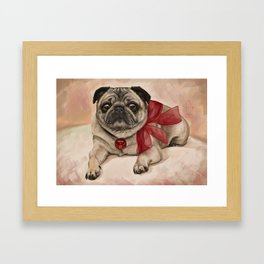 The pug with a red bow Framed Art Print