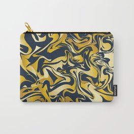 yellow and blue marble abstract texture pattern Carry-All Pouch