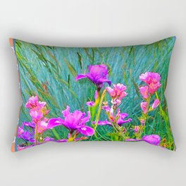 CORAL  PINK-WHITE PATTERNED PURPLE & PINK IRIS Rectangular Pillow