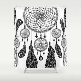 Dreamcatcher (Black & White) Shower Curtain