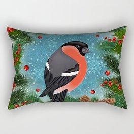 Bullfinch bird with fir tree decoration Rectangular Pillow