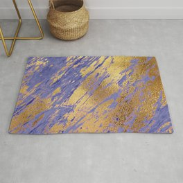 Rose Gold Glitter Faux Marble on Periwinkle Blue Rug