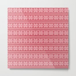 Red Ugly Sweater Pattern Metal Print