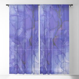 Indigo Abstract: Original Alcohol ink painting by Herzart Sheer Curtain