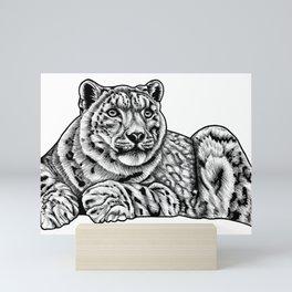 Snow leopard - ink illustration Mini Art Print
