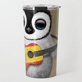 Baby Penguin Playing Spanish Flag Guitar Travel Mug