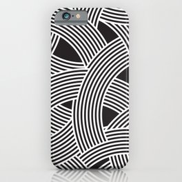 Modern Scandinavian B&W Black and White Curve Graphic Memphis Milan Inspired iPhone Case
