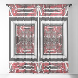 NUMBER 221 RED BLACK GRAY WHITE PATTERN Sheer Curtain