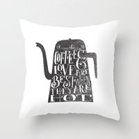 coffee Throw Pillows featuring COFFEE & LOVE by Matthew Taylor Wilson