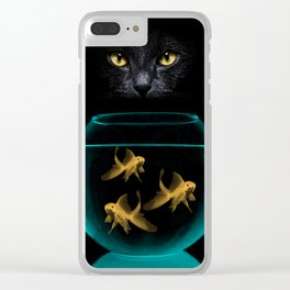 Black Cat Goldfish Clear iPhone Case