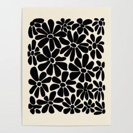 Black and White Retro Floral Art Print  Poster