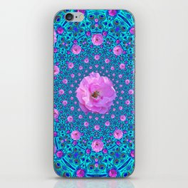 100 PINK ROSES & TURQUOISE ART iPhone Skin