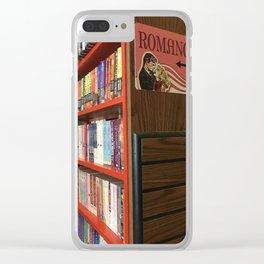 Romance aisle in a book shop Clear iPhone Case