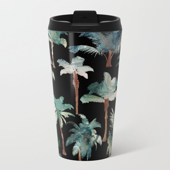Palm Trees at Night Metal Travel Mug
