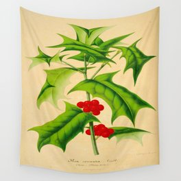 ILEX CORNUTA Vintage Botanical Floral Flower Plant Scientific Illustration Wall Tapestry