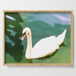 Duck in the water 2. duck. ducks. swan. swans. sea. beach.  Serving Tray
