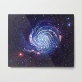 Pinwheel Galaxy Gouache Watercolor Painting Metal Print