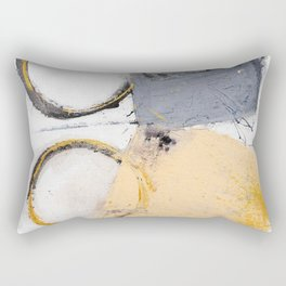 abstract circles blue, peach and gold illustration Rectangular Pillow