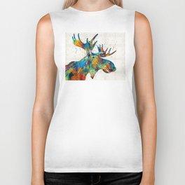 Colorful Moose Art - Confetti - By Sharon Cummings Biker Tank