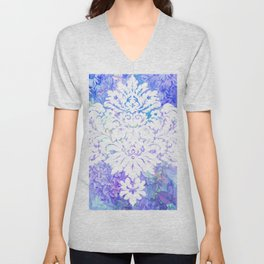 White Pattern on Floral Background Unisex V-Neck