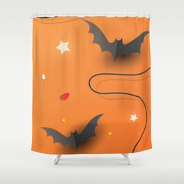 Creative elements  for halloween celebration. Top view pumpkins, candy and confetti Shower Curtain