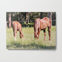 Horses feeding in a field Metal Print