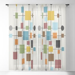 Mid-Century Modern Art 1.3 Sheer Curtain