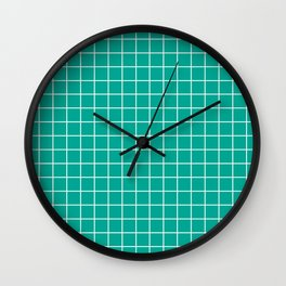 Persian green - green color - White Lines Grid Pattern Wall Clock
