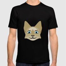 Anime Cat Face With Blue Eyes MEDIUM Mens Fitted Tee Black