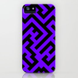 Black and Indigo Violet Diagonal Labyrinth iPhone Case