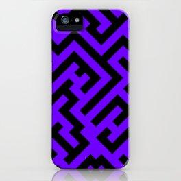 Black and Indigo Violet Diagonal Labyrinth iPhone Case