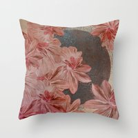 leah flores Throw Pillows featuring Flores by MACACOSS