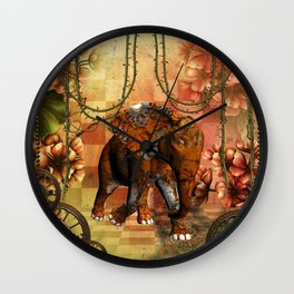 Steampunk, steampunk elephant Wall Clock